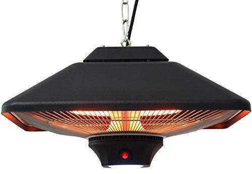 Aktobis Decken-Heizstrahler, Balkonheizer, Zeltheizer WDH (Schwarz + bis 2.000 Watt + LED Lampe)