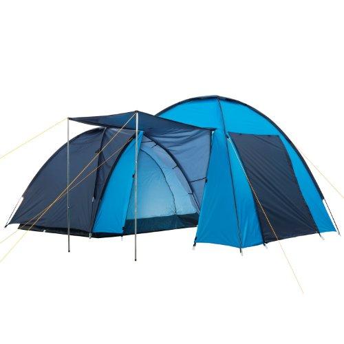 CampFeuer - Kuppelzelt mit großem Vorbau (4 Personen), Wassersäule: 3000 mm, Farbe: Blau / Hell-Blau