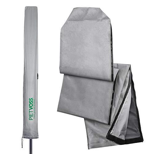 PIETVOSS Luxus Schutzhülle für Wäschespinne und Sonnenschirm - inklusive Packtasche - hochwertige Wäscheschirm Hülle als Schutz vor jedem Wetter - kinderleichte Bedienung (Silbergrau)