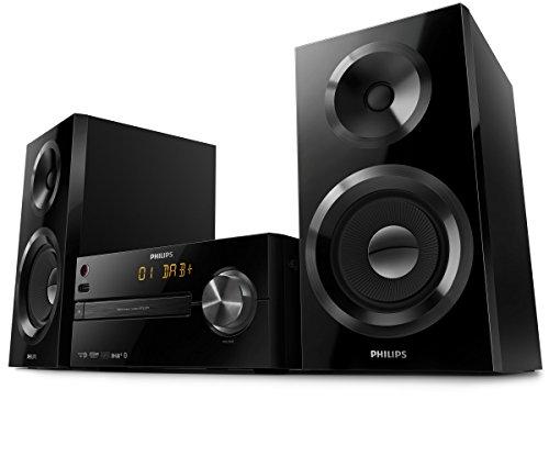 Philips BTB2570/12 Mini Stereoanlage mit DAB Plus (Bluetooth, Alarm, CD, USB, 70 W) schwarz