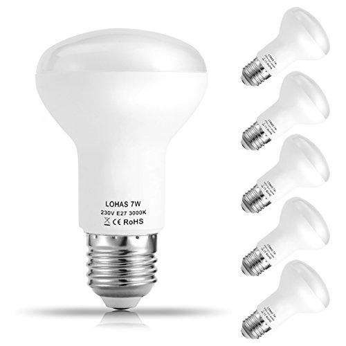 5er Pack LOHAS 7W E27 LED Lampen, Reflektor Reflektorlampe R63, Ersatzfür60WHalogenlampen, 560 lumen, Warmweiß 3000K, 120°Strahlwinkel, LEDLampe, LED Birnen, LED Leuchtmittel