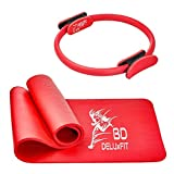 Yogamatte + Pilates Ring PREMIUM Qualität EXTRA DICK & bestens GEPOLSTERT + Tragegurt leicht ABNEHMEN & Fett VERBRENNEN für FRAUEN & MÄNNER Anfänger & Fortgeschrittene 182 x 61 x 1,5cm / 38cm Durchm.