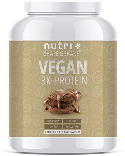 EIWEIßPULVER VEGAN Cookies & Cream 1kg | 81,9% Eiweiß | Nutri-Plus Shape & Shake  3k-Protein | Veganes Proteinpulver ohne Laktose und Milcheiweiß | In Deutschland hergestellt