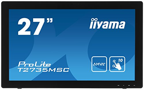 iiyama ProLite T2735MSC-B2 68,6cm (27 Zoll) AMVA+ LED-Monitor Full-HD 10 Punkt Multitouch kapazitiv (VGA, DVI, HDMI (MHL), USB3.0, Webcam, Microfon) schwarz