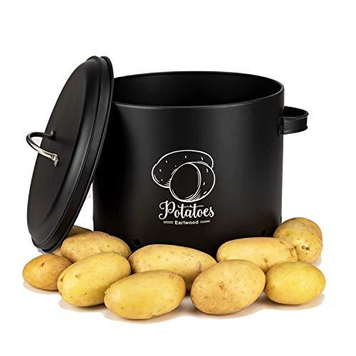 Earlwood Premium Kartoffeltopf zur Aufbewahrung - Behälter Ideal für Kartoffeln - Vorratsdose mit Deckel für mehr Ordnung - Hochwertiges Elegantes Design