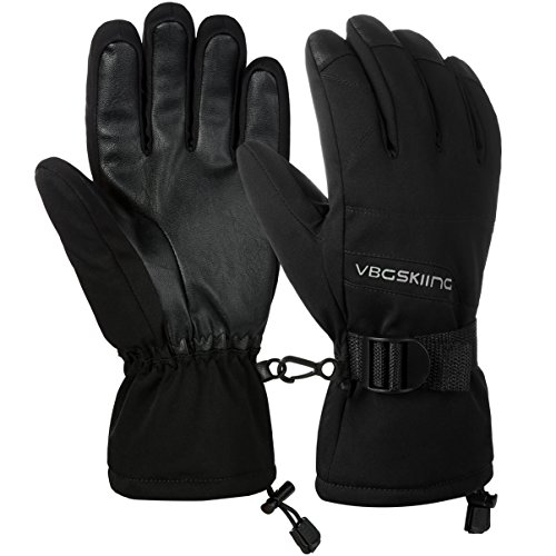 Vbiger Skihandschuhe Herren Winterhandschuhe Wärme verdickt Wasserdicht Winddicht PU Handschuhe für Herren und Damen,Schwarz, M