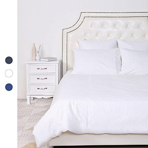 HOMFY 100% Baumwolle Bettwäsche, ein Bettbezug 200x220 cm im Set mit 2 Kissenbezüge 80x80 cm in tollen reinen Farben, elegant mit Hotelcharakter (Weiß, 200 x 220 cm)