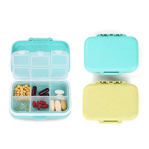 Crazy-m 2 Stück Pillendose Wasserdichter Pillenbox Tablettendose mit 6 Fächern, für Reise/Urlaub/Outdoor Sport Tablettenbox