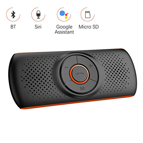 Aigoss Kfz Bluetooth 4.2 Freisprecheinrichtung mit Siri und Google Assistant, Kabelloser Lautsprecher für Visier, 2 Telefone Gleichzeitig