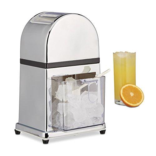 Relaxdays Eiscrusher Maschine mit Eisschaufel, manueller Ice Crusher, Metall Eiszerkleinerer, 27 x 15,5 x 13 cm, silber