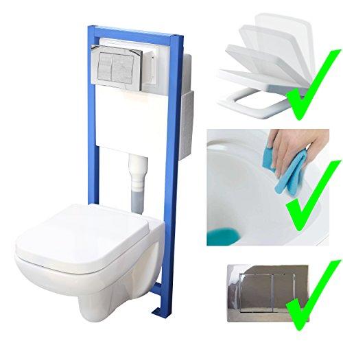 All-In-One-Set V3: Lavita Vorwandelement inkl. Drückerplatte chrom + Wand WC ohne Spülrand + WC-Sitz mit Soft-Close-Absenkautomatik