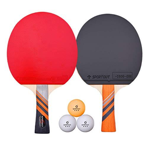Easy-Room Tischtennisschläger, Tischtennis-Set mit 2 Schlägern und 3 Bällen und Tischtennis-Schläger mit Carry Case(Advanced Play)