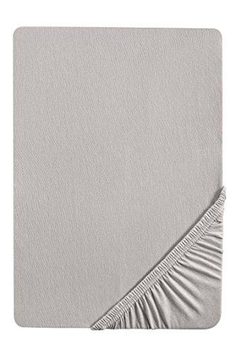 biberna 77155 Jersey-Stretch Spannbetttuch, nach Öko-Tex Standard 100, ca. 90 x 190 cm bis 100 x 200 cm, sturmgrau