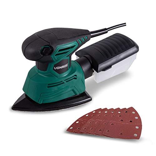 VONROC Dreieckschleifer Mouse | Multischleifer 130 W - Mit Staubauffangbehälter und 6 Schleifblättern