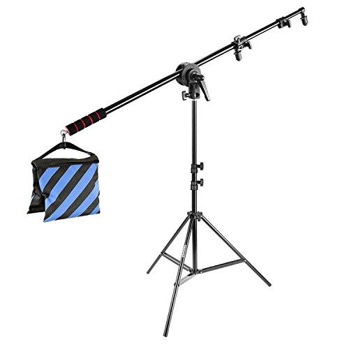 Neewer - Beleuchtungsreflektor, Auslegearmständer-Kit: 185Zentimeter Reflektorhalterung mit Gummigriff, 190Zentimeter Beleuchtungsständer, Adapterklemmen-Achse, Sandsack
