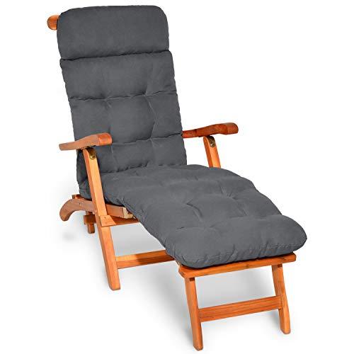 Beautissu Auflage für Deckchair Flair DC 200x50x8 cm Liege-Stuhl Polster-Auflage mit Schaumflockenfüllung Graphit-Grau erhältlich