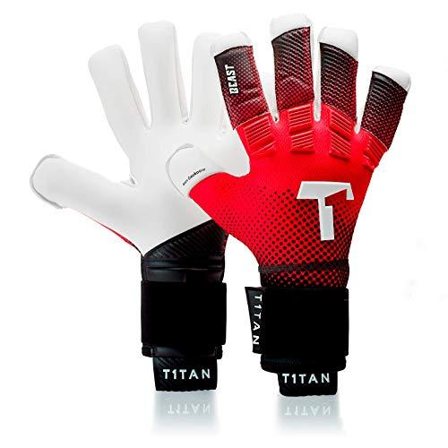 T1TAN Red Beast Torwarthandschuhe mit Fingerschutz, Fußballhandschuhe Herren & Erwachsene - 4mm Gecko Grip - Gr. 9