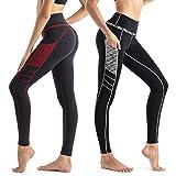 Wirezoll Damen Lange Leggings Blinkdicht Yoga Leggings Sporthose Fitnesshose mit Taschen
