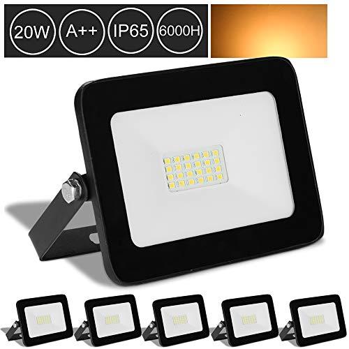 Hengda 5* LED Fluter Strahler 20W Warmweiß Wasserdicht Außenstrahler Außenleuchte Scheinwerfer LED Baustrahler Flutlicht
