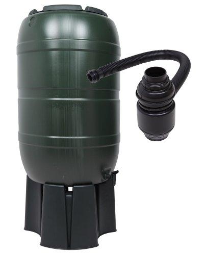 Regensammler Wassertonne für 210 Liter mit Standfuß, Füllautomat (Befüllsystem) und einem Verbindungs-Set für Wassertechnik