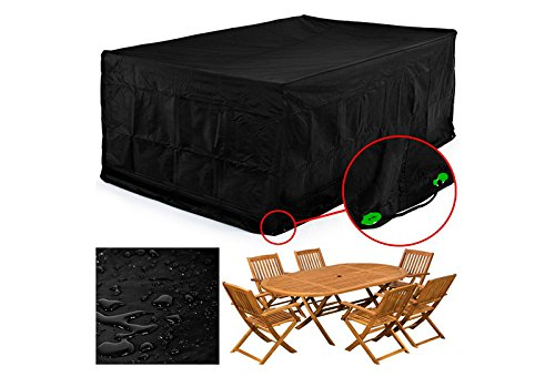 MVPOWER Abdeckung Schutzhülle Abdeckplane Abdeckhaube für Gartenmöbel und für rechteckige Sitzgarnituren, Gartentische und Möbelsets (300*250*90cm)