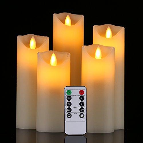LED Kerzen,Flammenlose Kerzen 250 Stunden Dekorations-Kerzen-Säulen im 5er Set (10,2 cm 12,7 cm 15,2 cm,17.8 cm,20.3 cm). Realistisch flackernde LED-Flammen aus Echtwachs in Elfenbeinfarbe. 10-Tasten Fernbedienung mit 24 Stunden Timer-Funktion (5*1, Ivory) (5*1)