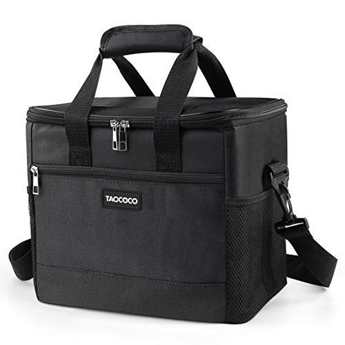 TAOCOCO Kühltasche Picknicktasche 35L faltbar Eistasche Mittagessen Isoliertasche Lunchtasche für Büro Camping, Beach Auto Outdoor Reisen (Schwarz)