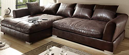 Reboz Big Sofa Ecksofa Vintage Braun Schwarz Ausrichtungen (Vintage Dunkelbraun, Links)