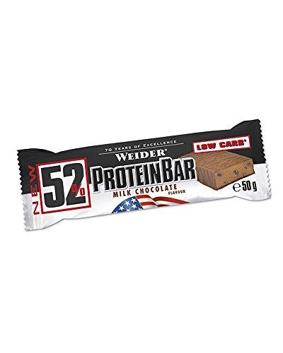 Weider 52% Protein Bar (24x 50g Box), Chocolate/Schokolade, 1er Pack, (1 x 1.2kg)
