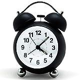 Bigmeda Wecker Analog, Lautlos Doppelglockenwecker mit Nachtlicht, Geräuschlos Wecker kein Ticken, Retro Reisewecker Laut für tiefschläfer, Batteriebetrieben (Schwarz)
