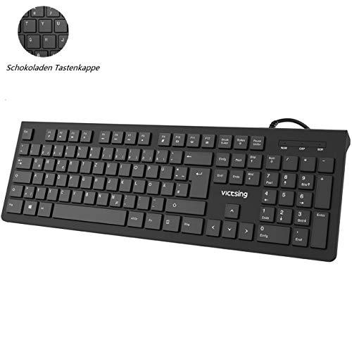 VICTSING USB Tastatur, 105 Tasten Chiclet PC Tastatur, QWERTZ Deutsches Layout, Wired Tastatur USB 2.0/ Ergonomisches Design, 1,5m Kabel Office Keyboard für Windows 98/ XP/ 7/8/10/ Vista, Mac, Schwarz