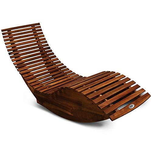 Deuba Schwungliege | FSC-zertifiziertes Akazienholz | Ergonomisch | Vormontierte Latten | Wippfunktion | Gartenliege Sonnenliege Relaxliege Saunaliege