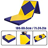 CCLIFE 180x80x5 cm Gelb+Blau Weichbodenmatte Turnmatte Klappbar Gymnastikmatte