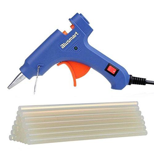 Blusmart Mini Heißkleberpistole mit 25Kleber-Sticks, Hohe Temperatur, Abzug flexibel für kleine Projekte zum Basteln und verpacken sowie kleine Reparaturen zu Hause und im Büro (20 Watt, blau)