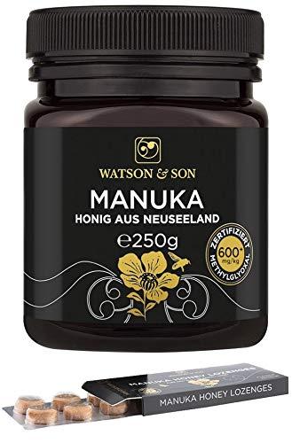 Watson & Son Manuka Honig MGO 600+ 250g + gratis Manuka Lutschtabletten 20g MGO 400+ | Zertifizierte Premium Qualität aus Neuseeland | Lozenges Lutschbonbons