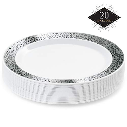 20 Elegante Plastik Einwegteller mit Silber Spitzenrand, 26 cm| Stabil & Mehrweg Partyteller Kunststoff| Weiß Silber Einweggeschirr| Speiseteller für Hochzeit Geburtstage Party Taufe.
