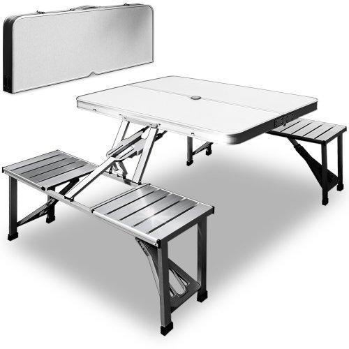 Deuba Campingtisch Alu I Koffertisch I 4 Stühle I Sonnenschirmständer I Klappbar Faltbar Picknicktisch Campingmöbel Set