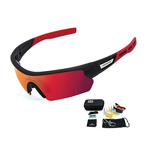 Fahrradbrille Polarisierte Sonnenbrille, UV400-Schutz Sportbrille für Herren und Damen, Radbrille mit 5 Wechselobjektiven und Etui für Radsports, Baseball, Laufen Sportsonnenbrille (Schwarz rot)
