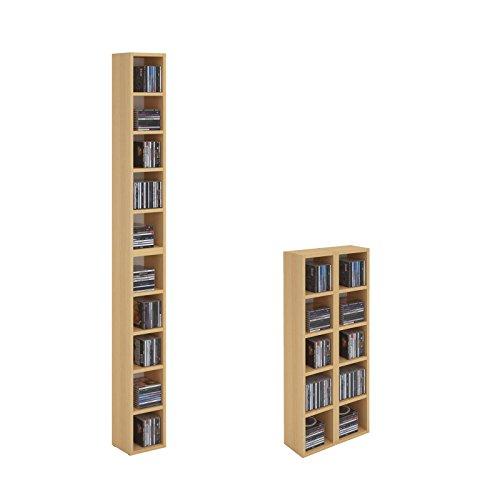 CD DVD Regal Ständer Aufbewahrung CHART, in Buche mit 10 Fächern für bis zu 160 CDs, 20x186,5 cm (Breite x Höhe)