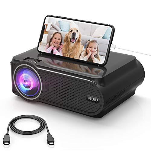 Mini Beamer, tragbarer HD-Heimkino Beamer Unterstützt 1080P Full HD Keystone-Korrektur ± 15°LED-Beamer Kompatibel mit AV VGA USB HDMI