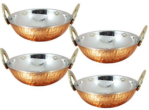 4er Set, Edelstahl Gehämmert Kupfer Serviergeschirr Zubehör Karahi Pfanne Schüsseln für Indisches Essen, Durchmesser 13 Cm