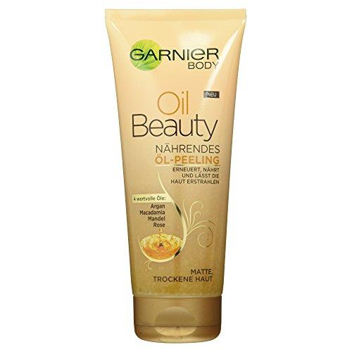 Garnier Oil Beauty Nährendes Öl Peeling/Körperpeeling mit 4 wertvollen Ölen Argan, 1er Pack (1 x 200 ml)