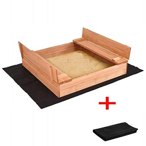 Radgermany Sandkasten Sandbox mit Deckel SITZBÄNKEN Sandkiste Holz 150x150 cm