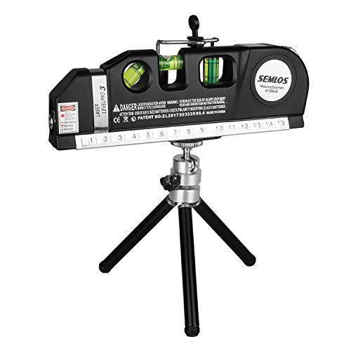 Semlos Laser Wasserwaage, 3 in1 Wasserwaage-Linien Lasermessung, 250 cm Maßband, Vertikale 45° und horizontale Blasen+ Einziehbares Metallstativ