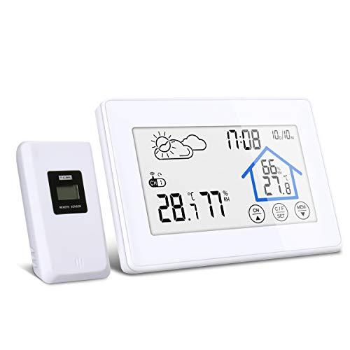 Wetterstation, DIGOO DG-TH8380 Wetterstation mit Funk, Wetterstation Farbdisplay mit Touchscreen, Innen- und Außenthermometer Hygrometer, 3 Außensensoren