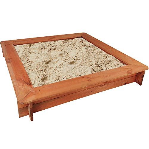 Sandkasten aus Holz mit Sitzbänken 119 x 119 cm - quadratische Sandbox