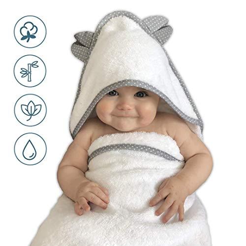 VABY - Babyhandtuch mit Kapuze, OEKO-TEX, aus Baumwolle und Bambus, weiß/grau, Kinderhandtuch extra groß, Frottee Kapuzenhandtuch mit Ohren, Baby Handtuch für Neugeborene, Junge und Mädchen