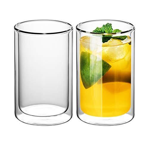 GAIWAN Doppelwandige Tee Gläser 2er Set I Schlichte Trinkgläser für Tee oder Latte Macchiato I Thermobecher spülmaschinenfest (ICEGOLD330-T I 0,33l)