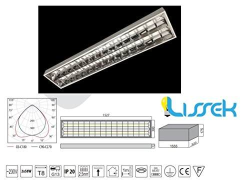 Rasterleuchte Deckenleuchte Bürolampe Aluraster Anbauleuchte 2x58W EVG GTV 840