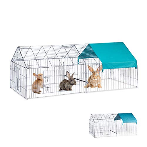Relaxdays Freilaufgehege L, Kaninchen, Hühner, optionale Sitzstange, Freigehege groß, HBT 85x100x220cm, verzinkt, silber